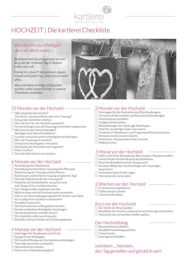 Hochzeits Checkliste Die Hochzeitsfeier Www Kartlerei De