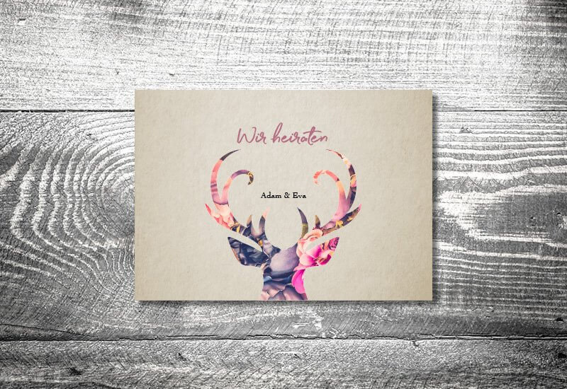 kartlerei karten drucken hochzeitseinladung heiraten einladung floralhirsch - Hochzeitscountdown Freebie
