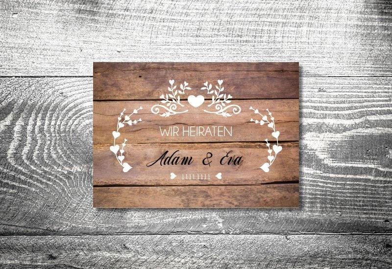 kartlerei karten drucken hochzeitseinladung heiraten einladung vintagholz - Hochzeitscountdown Freebie