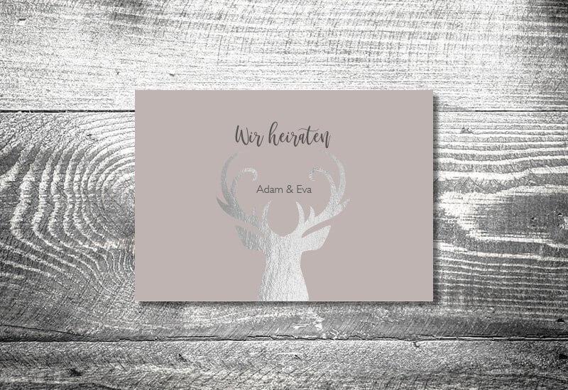 kartlerei karten drucken hochzeitseinladung heiraten silberner hirsch - Hochzeitscountdown Freebie