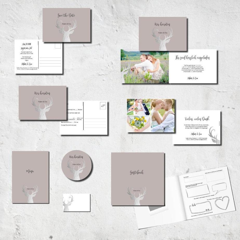 hochzeits set kartlerei karten drucken bierdeckel menuekarten gaestebuch dankeskarten hochzeit 2018 - Hochzeitskarten Set – Alles muss perfekt sein!