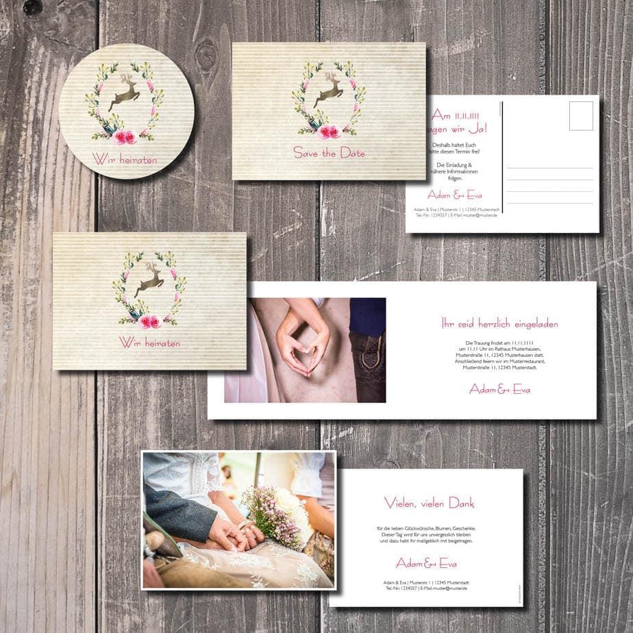 trachtenhochzeit heiraten in tracht kartlerei hirschkranz - Geburtstagseinladung auf Bayrisch