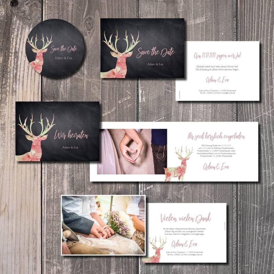 trachtenhochzeit heiraten in tracht kartlerei leinenhirsch - Geburtstagseinladung auf Bayrisch